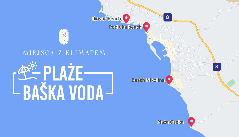 baska voda plaze mapa